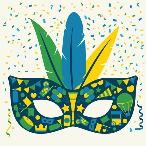 Set di maschere di Carnevale di icone luminose vettore