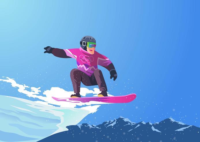 Olimpiadi invernali Snowboard vettore