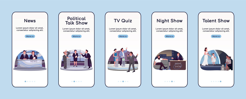app mobile per l'onboarding della programmazione televisiva vettore