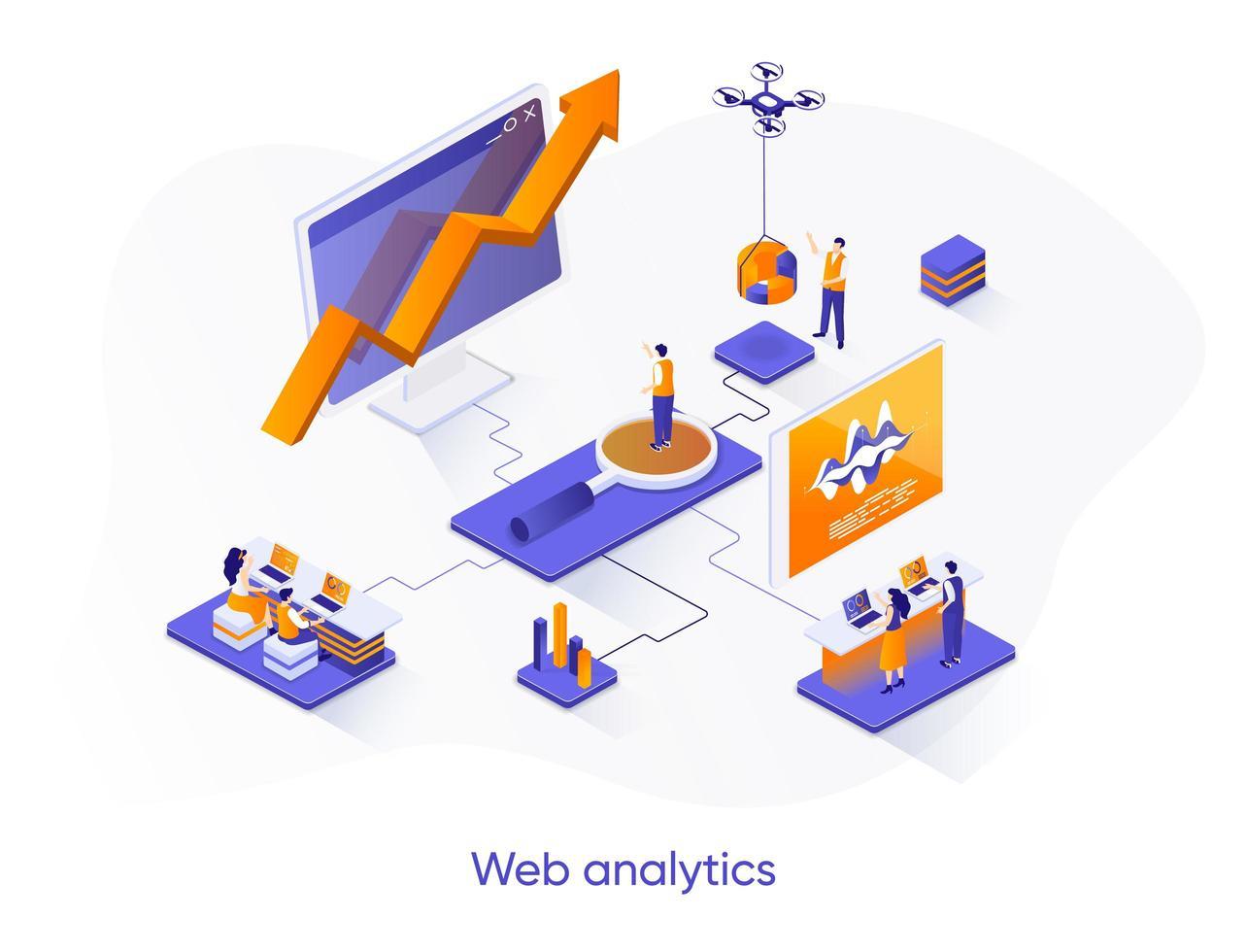 banner web isometrico di analisi dei dati web. vettore