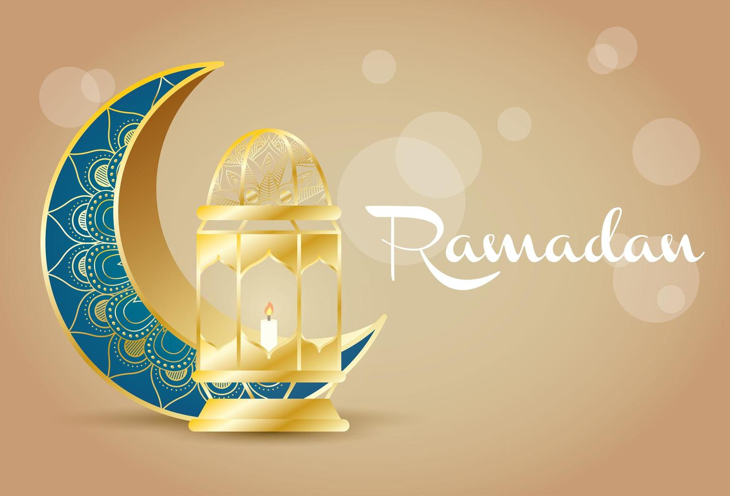 banner di celebrazione del ramadan con luna d'oro vettore
