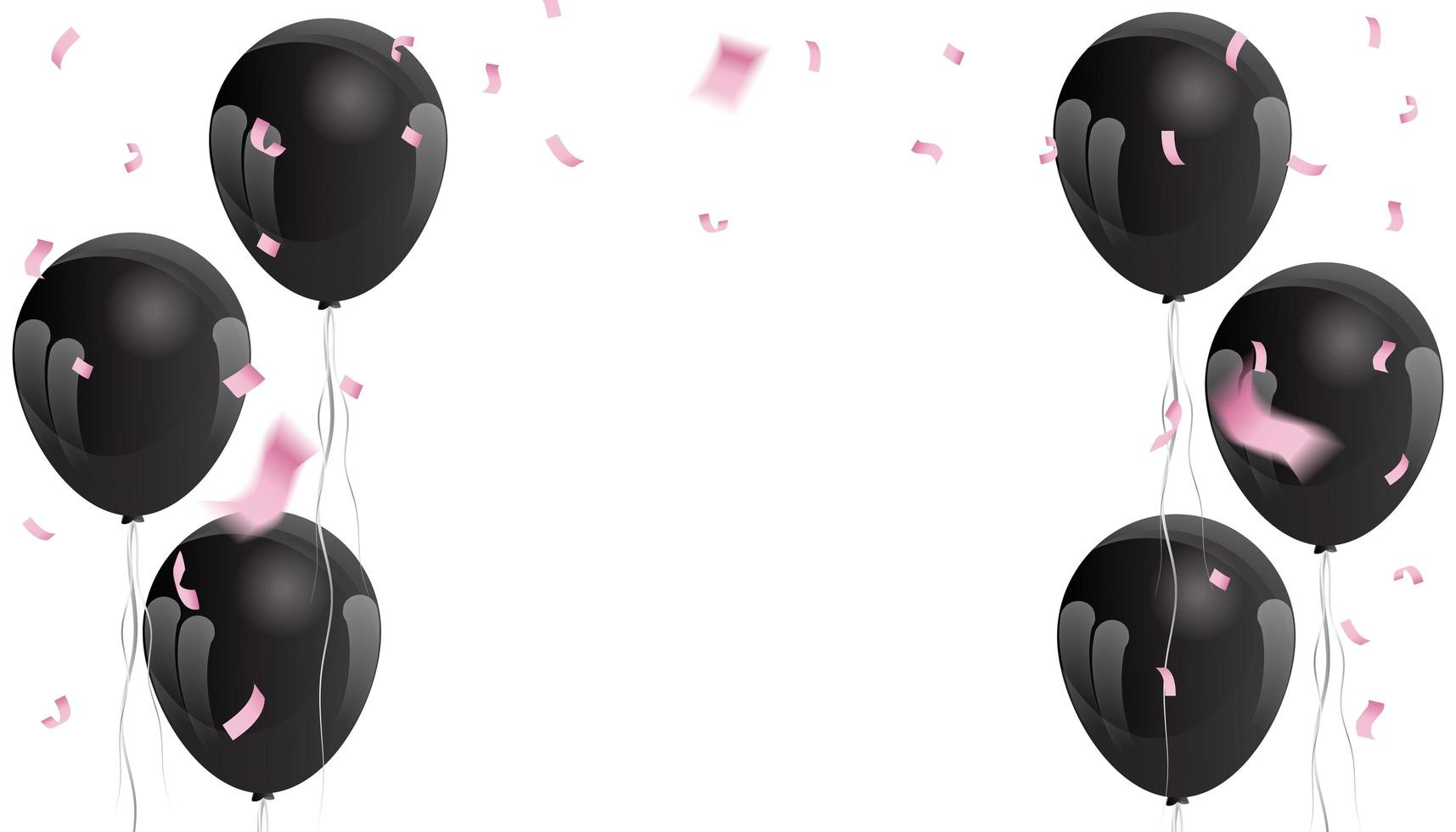 coriandoli rosa e palloncini neri vettore