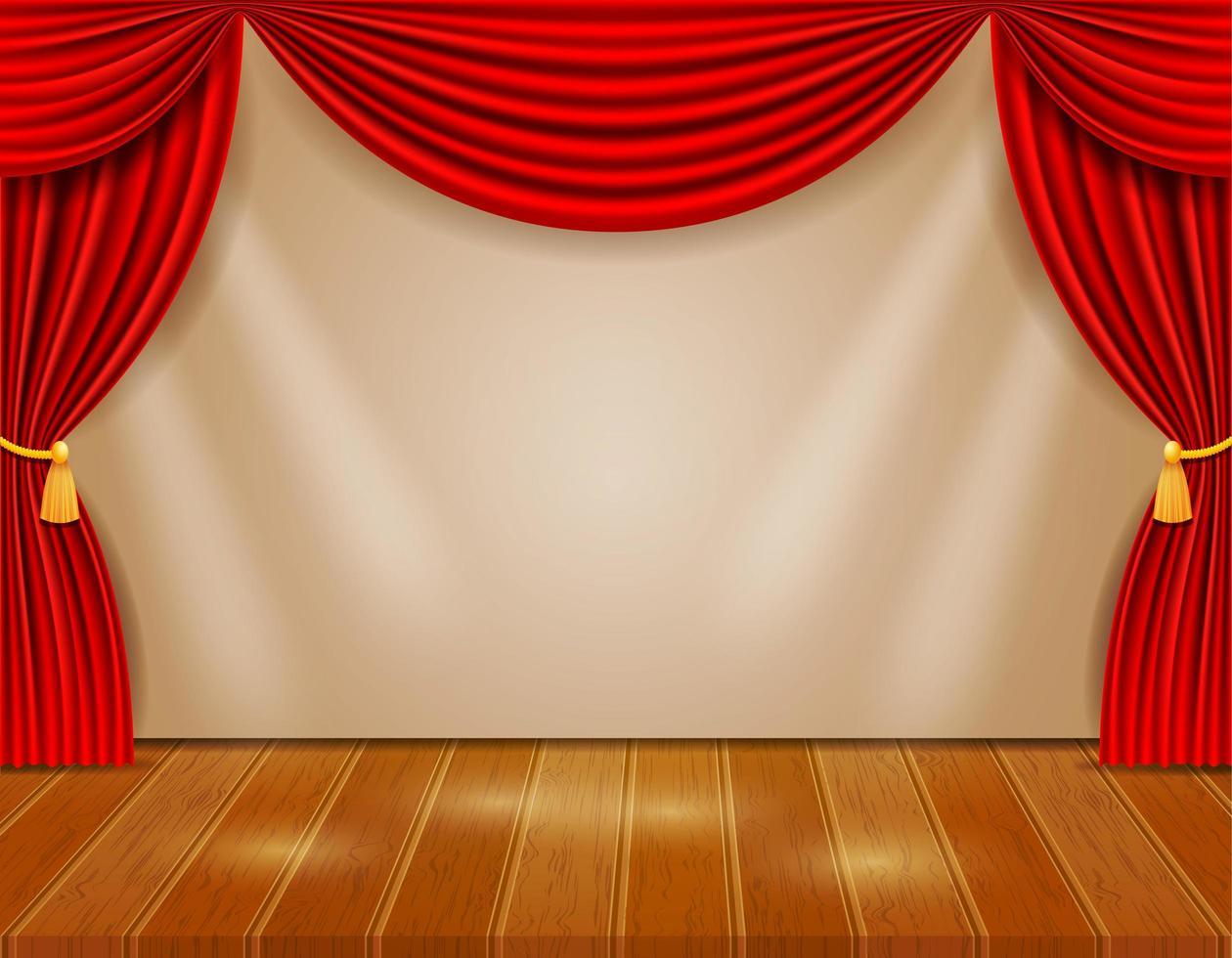 palcoscenico con tende rosse vettore