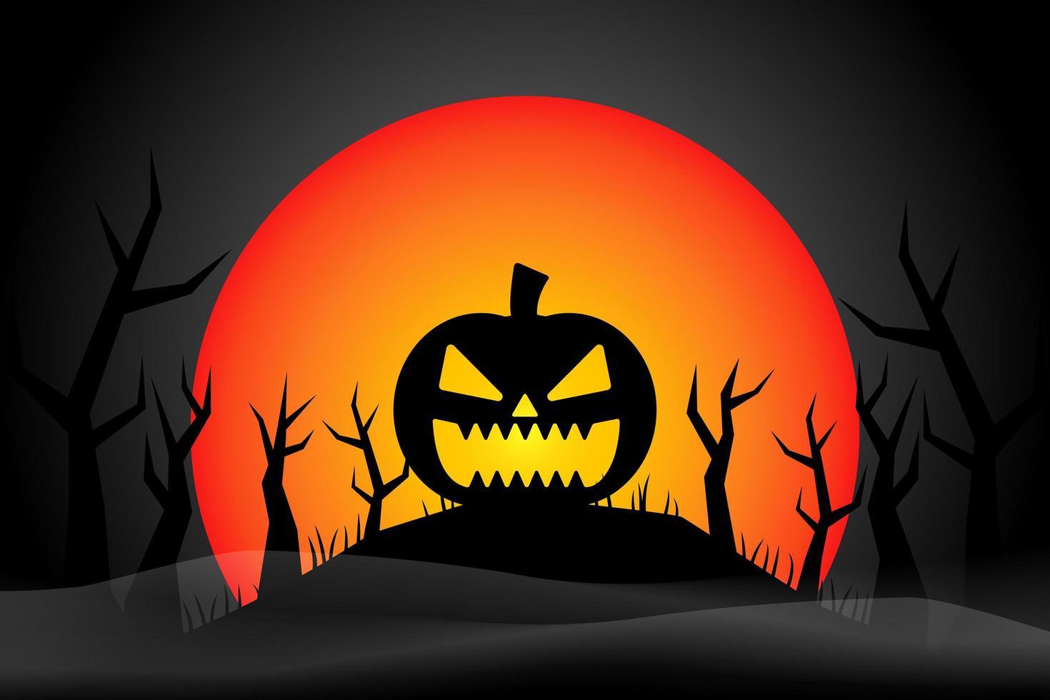 zucca di halloween spaventoso sulla collina di halloween vettore
