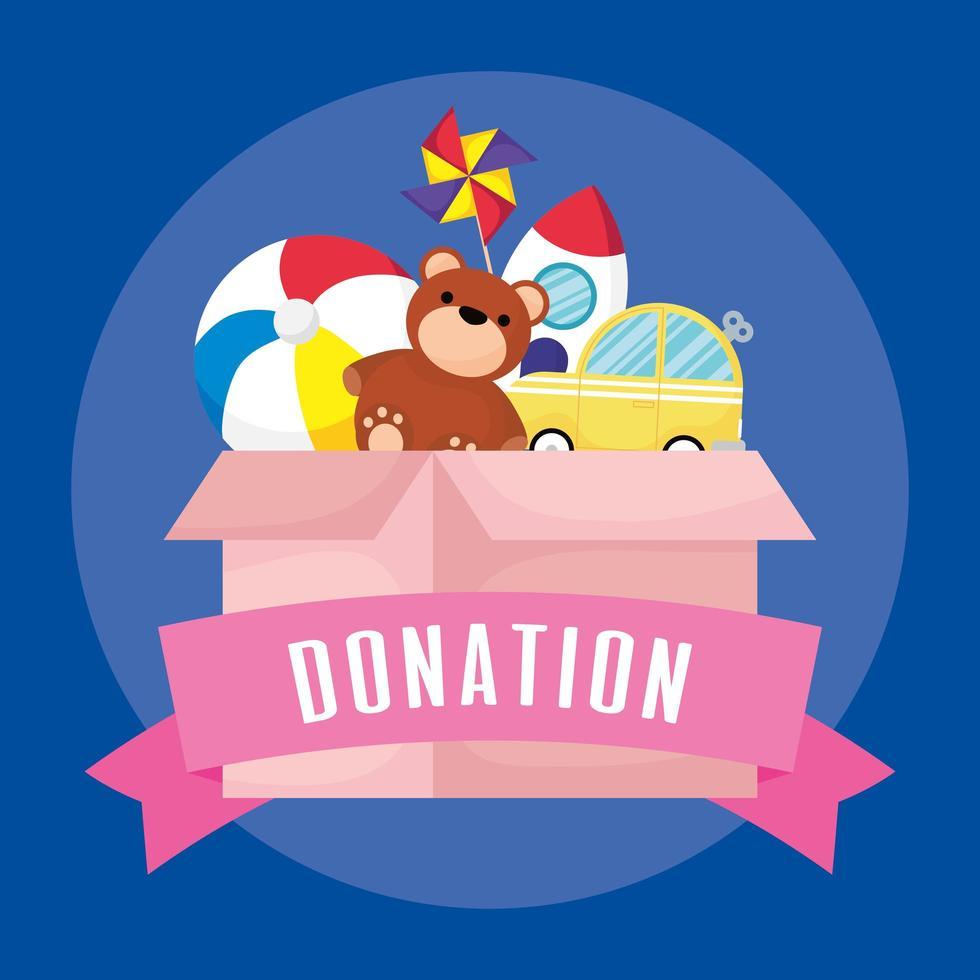 scatola di beneficenza e donazione con giocattoli vettore