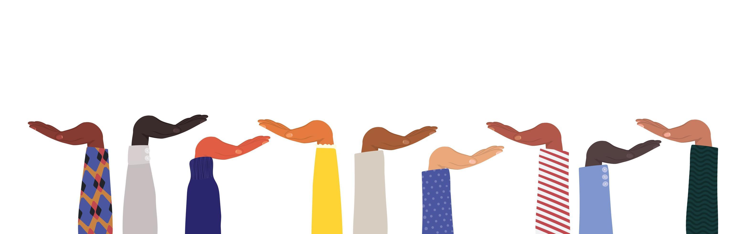 mani aperte di diversi tipi di pelli vettore