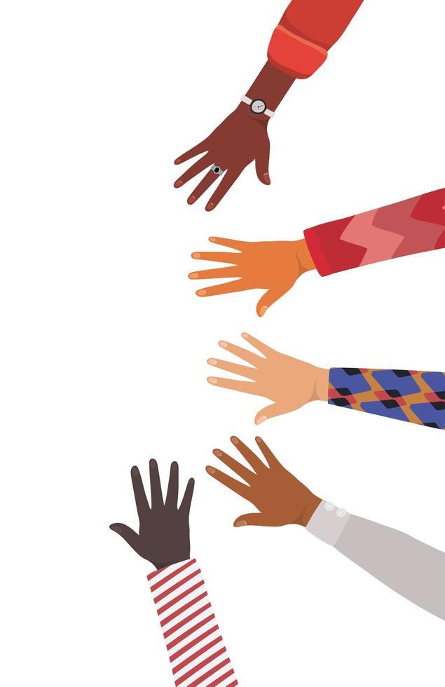mani aperte di diversi tipi di design di pelli vettore