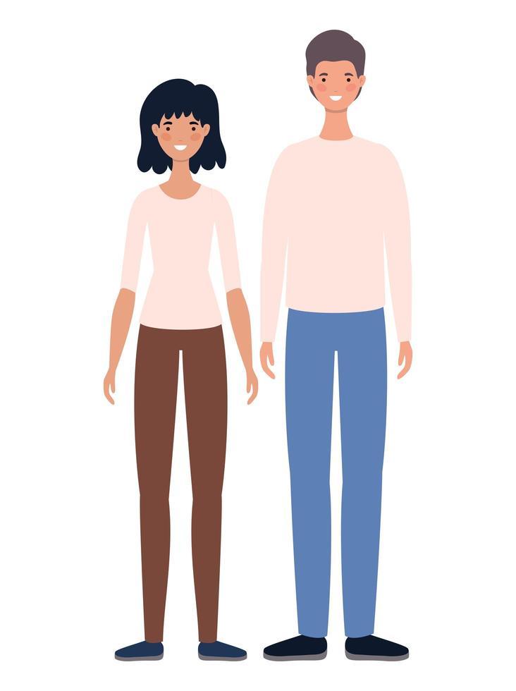 donne e uomini avatar cartoni animati design vettore