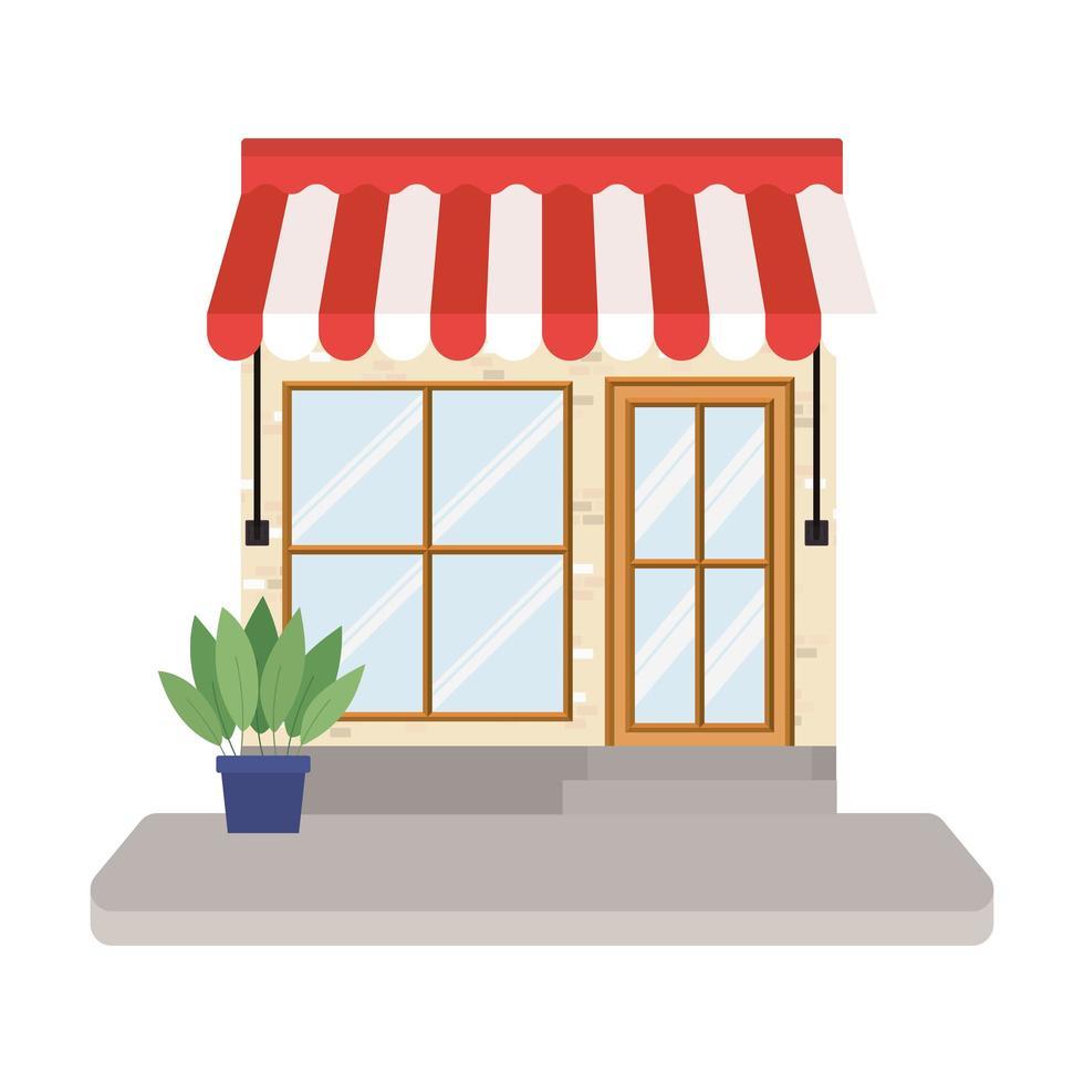 negozio con tenda e pianta all'interno del vaso vettore