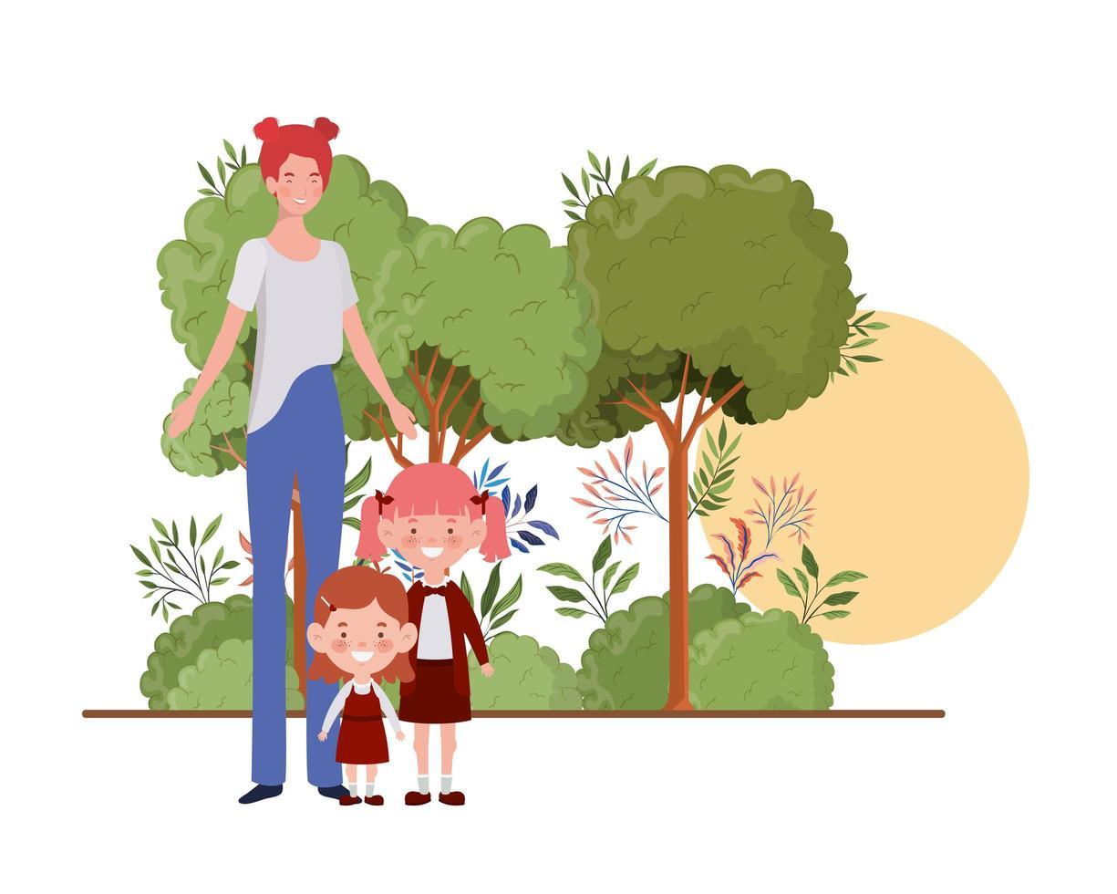 donna con figli di ritorno a scuola vettore
