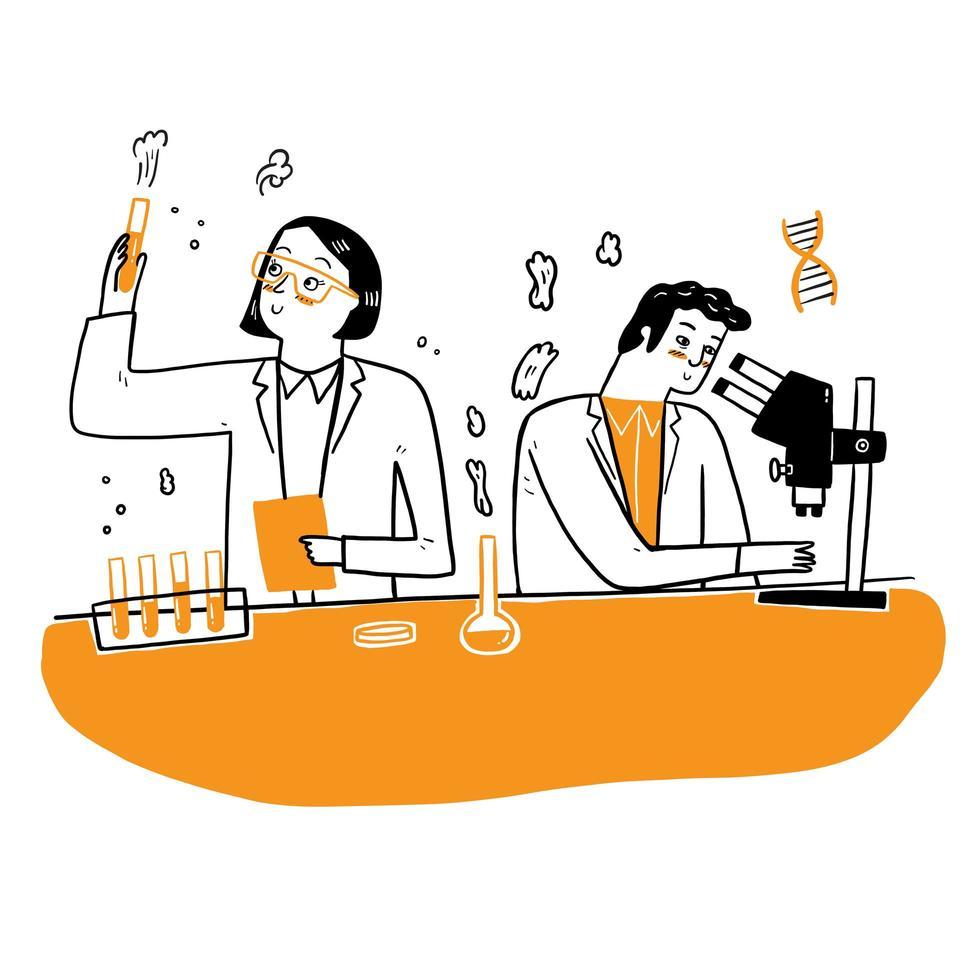 ricercatori chimici con attrezzatura di laboratorio vettore