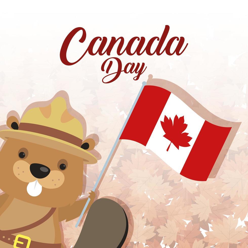 banner di celebrazione felice giorno del canada con castoro vettore
