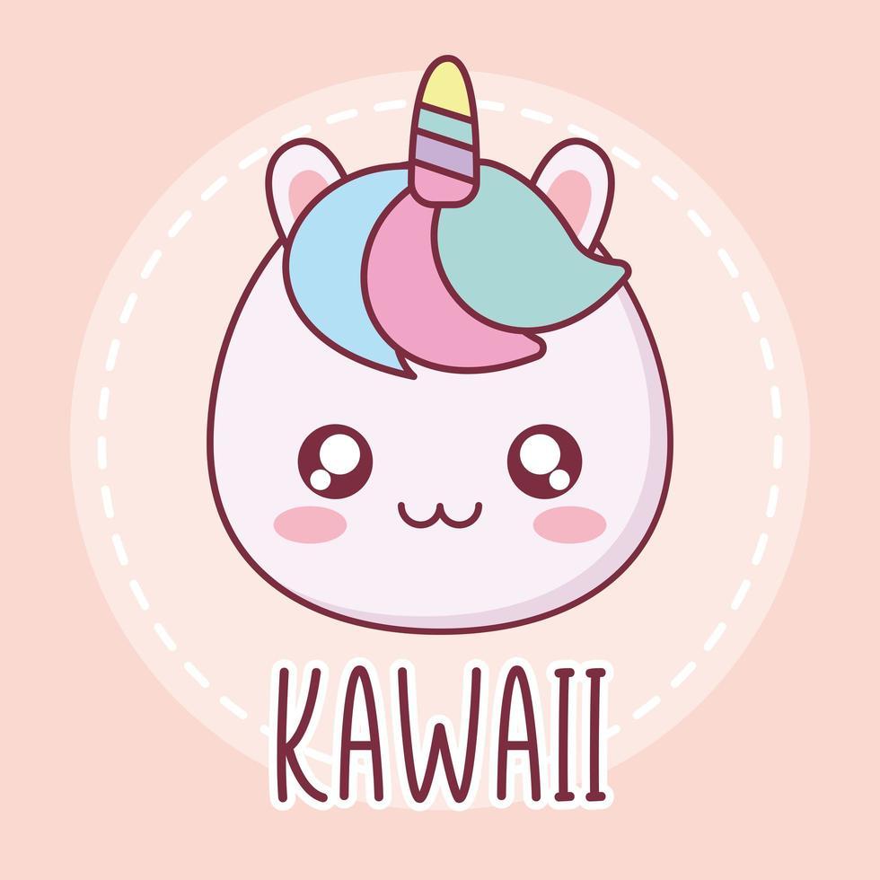 kawaii unicorn animal cartoon design vettore