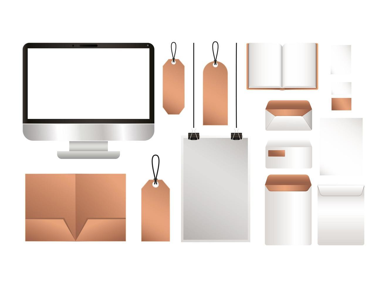 design di etichette e buste per file di computer mockup vettore