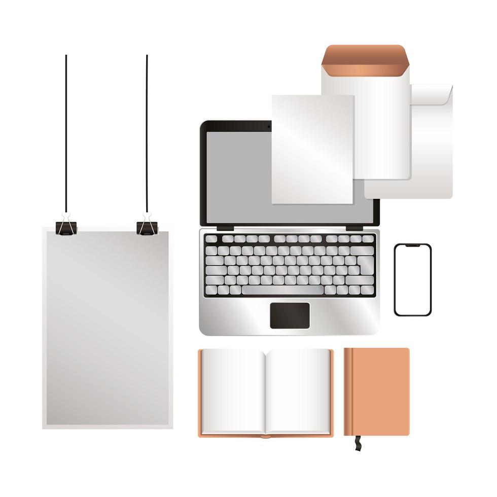 mockup laptop smartphone e set di identità aziendale vettore
