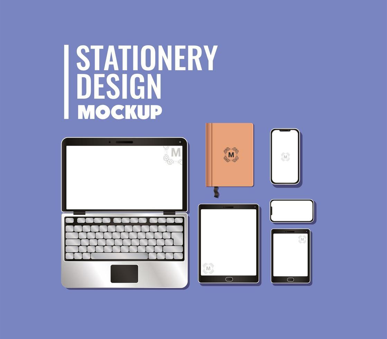 set di mockup di laptop e branding vettore