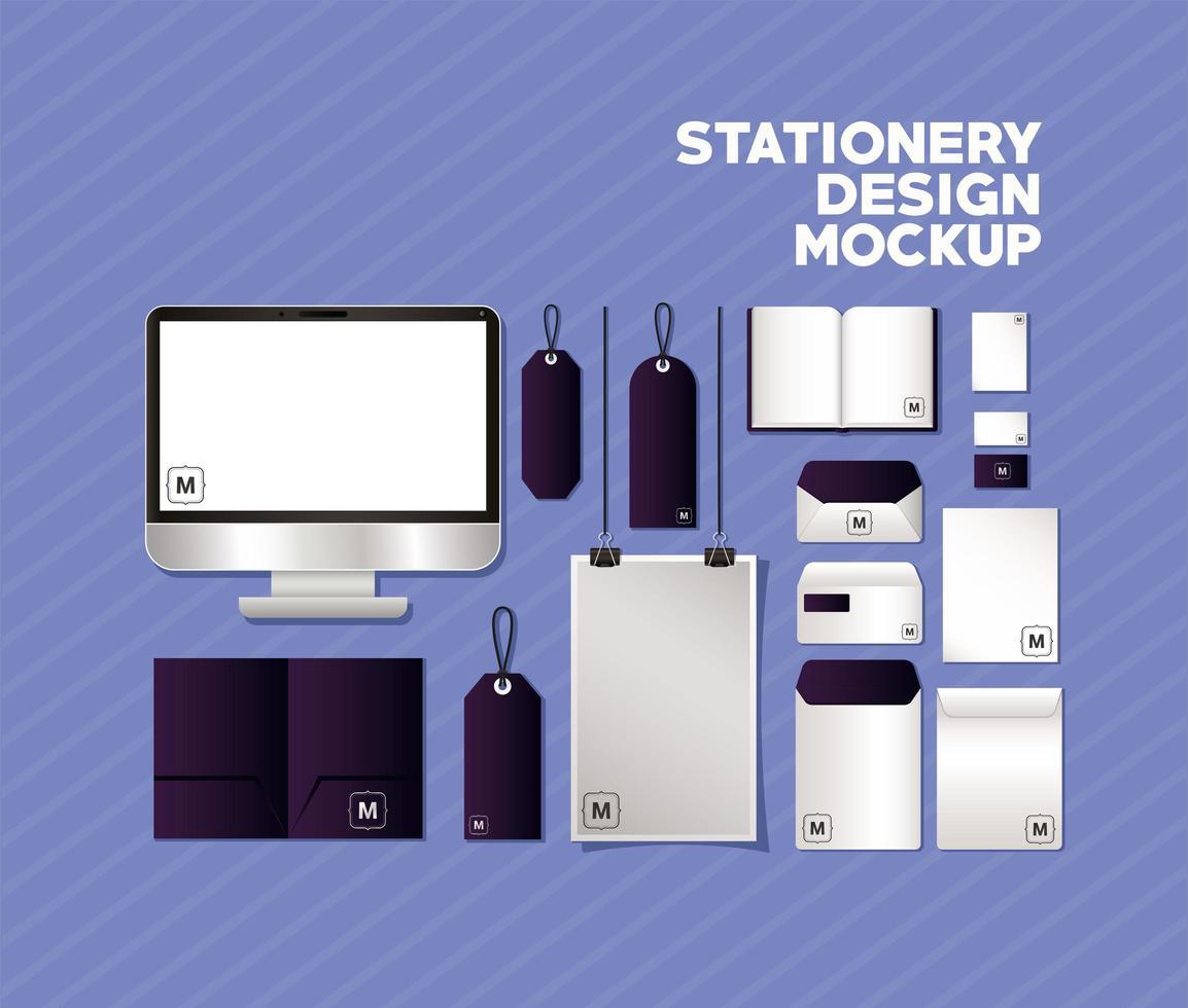 set di mockup con disegni del marchio viola scuro vettore