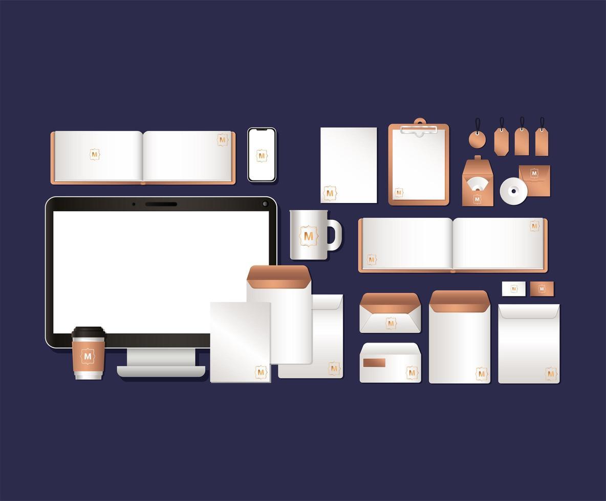 set design mockup di computer e branding vettore