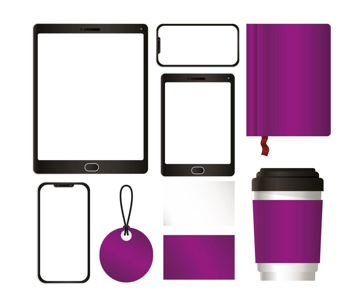 tablet e mockup con design del marchio viola vettore