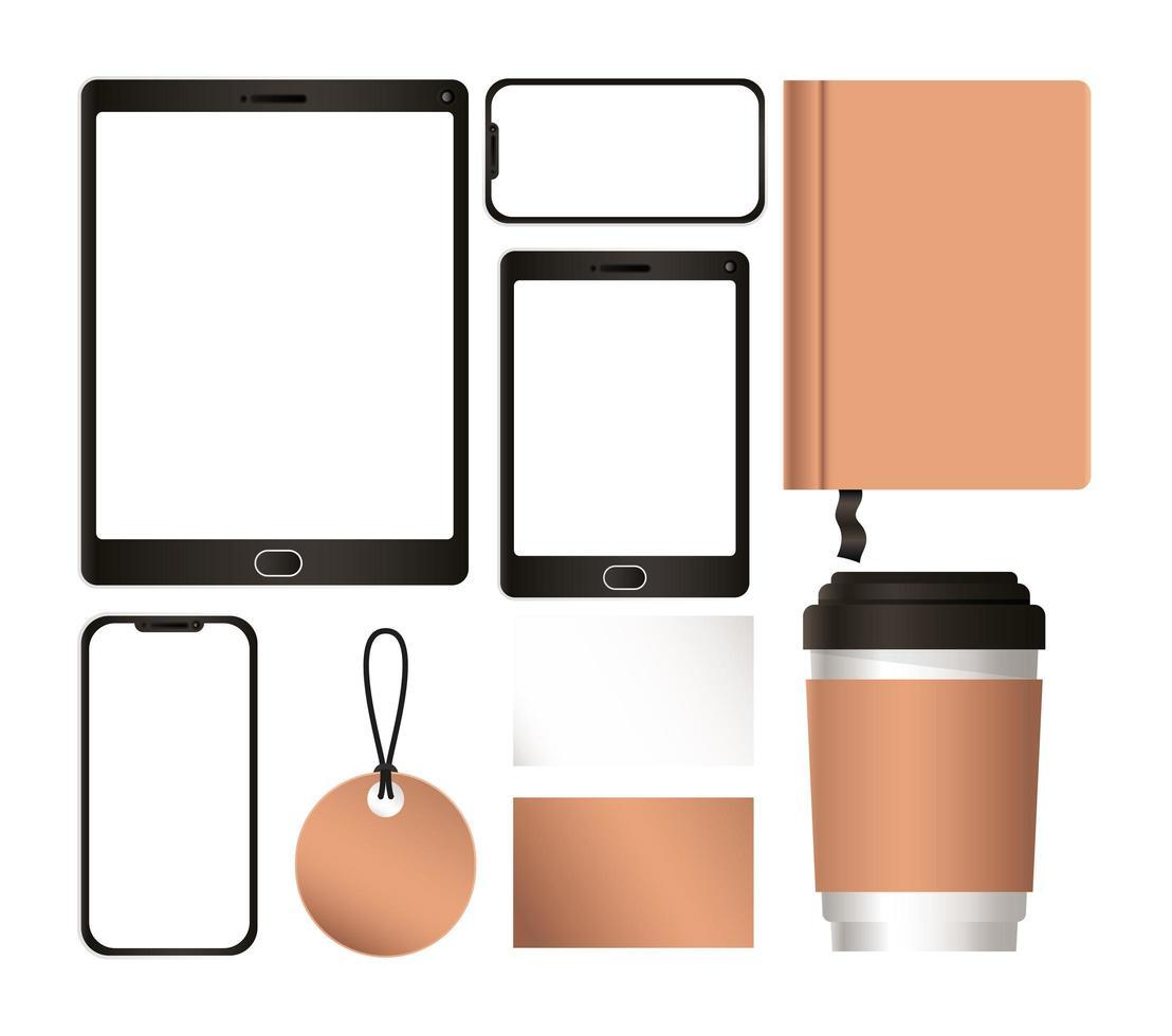 tablet mockup con smartphone e set di identità aziendale vettore