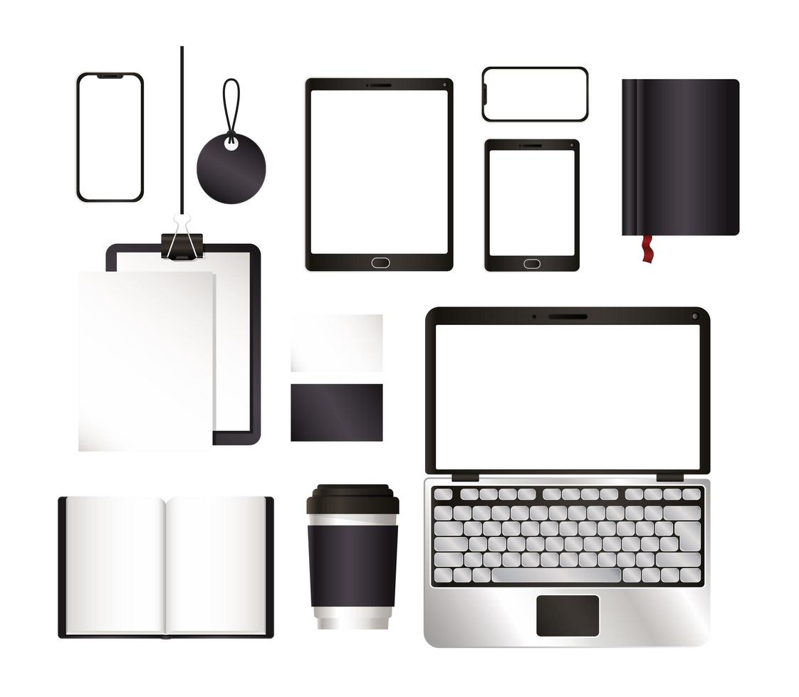 mockup laptop tablet smartphone e scenografia vettore