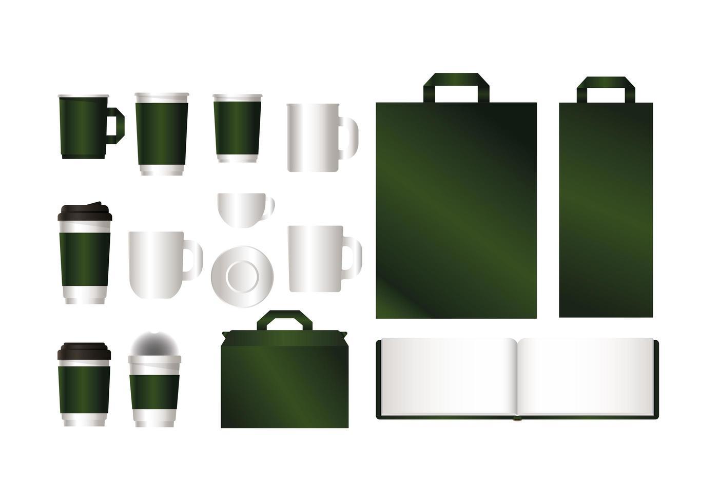 mockup con design del marchio verde vettore