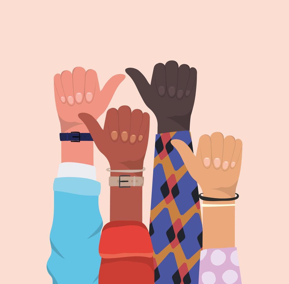 come segno con le mani di diversi tipi di pelli vettore