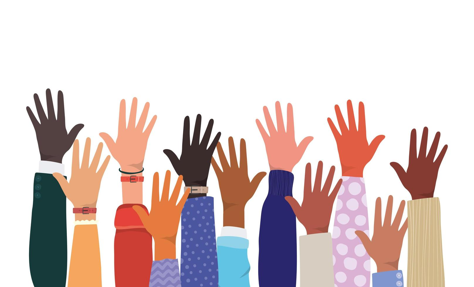 aprire le mani su diversi tipi di pelli vettore