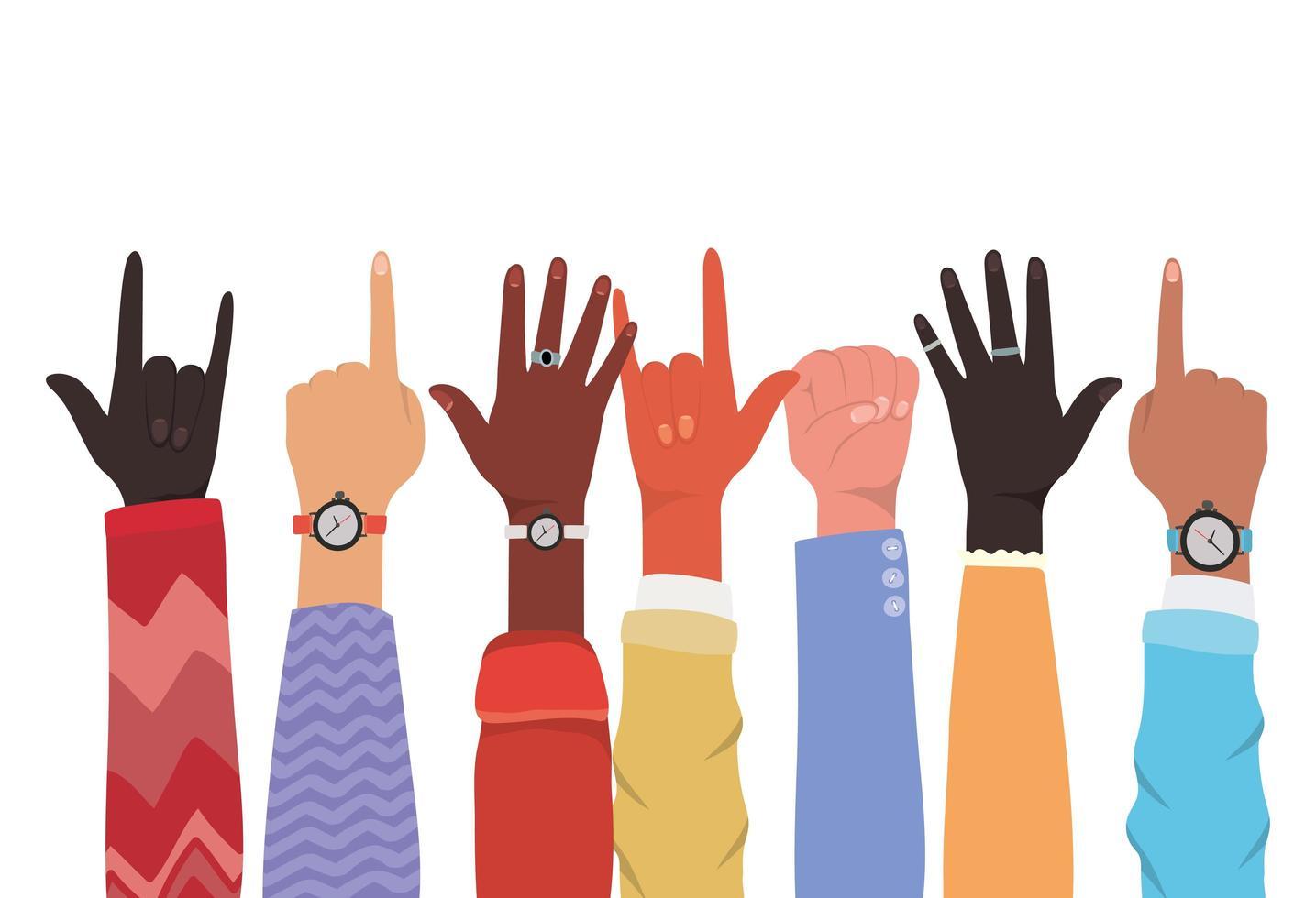 mani in alto di diversi tipi di design di pelli vettore
