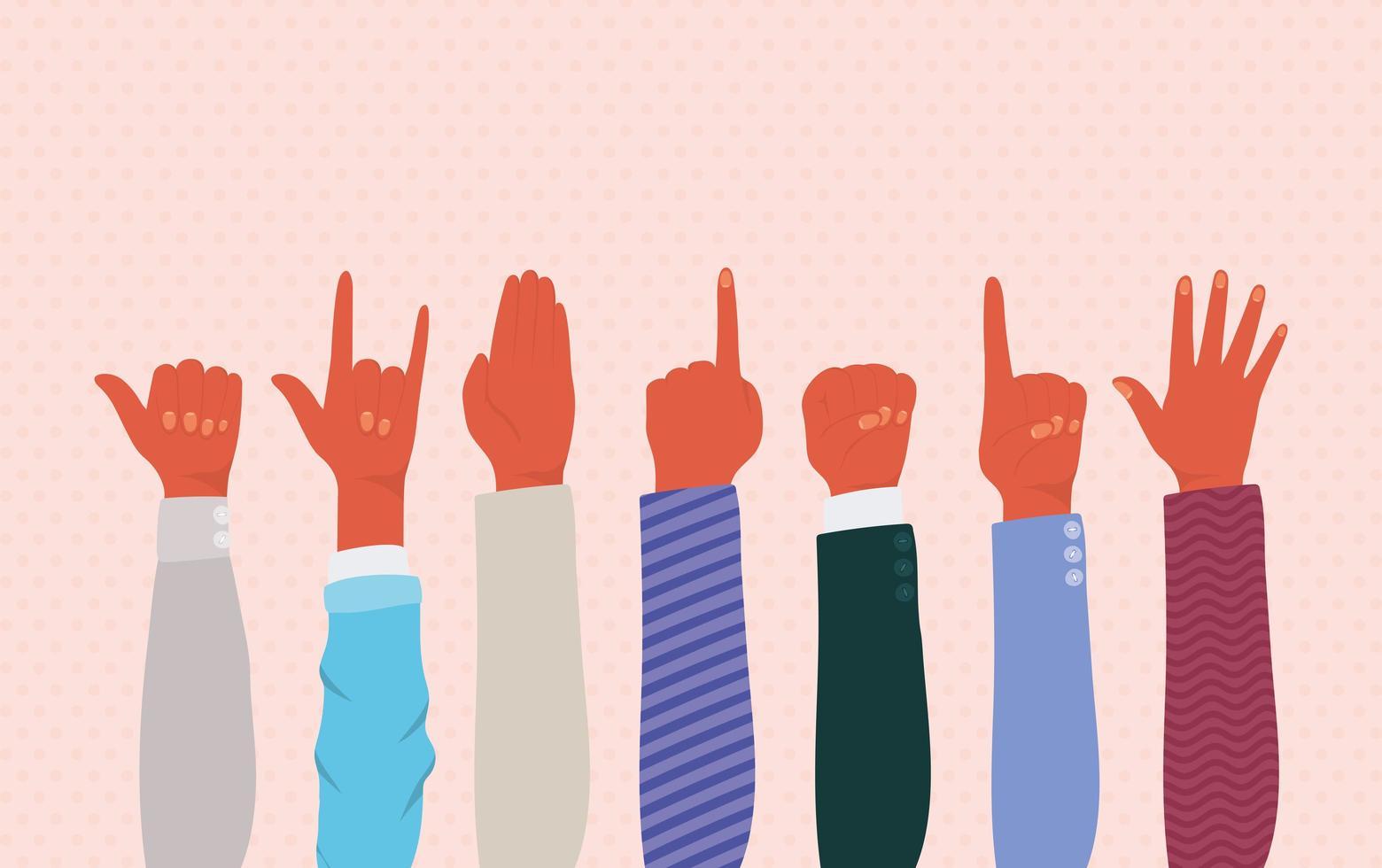 mani in alto di diversi tipi di pelli disegno vettoriale