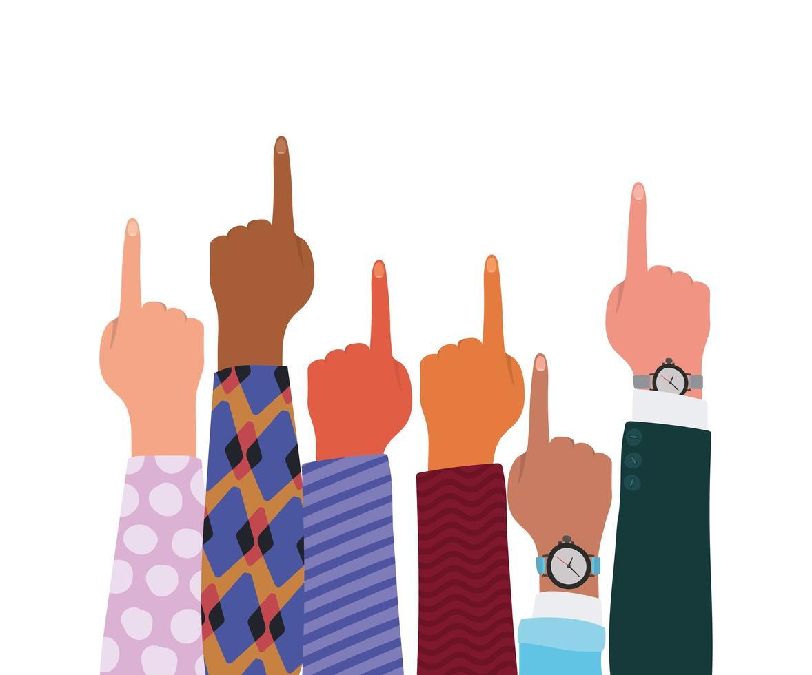 segno numero uno con le mani di diversi tipi di pelli vettore