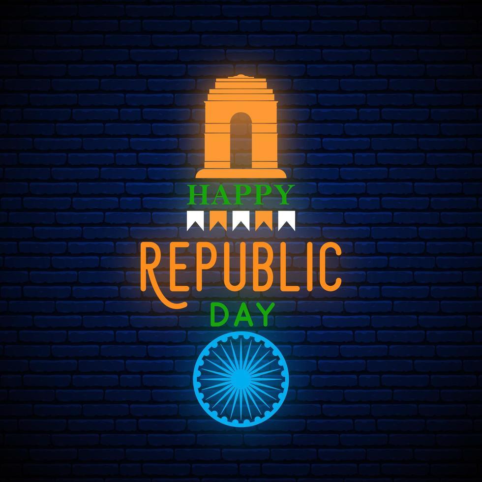 banner di saluto verticale al neon felice giorno della repubblica dell'india. vettore