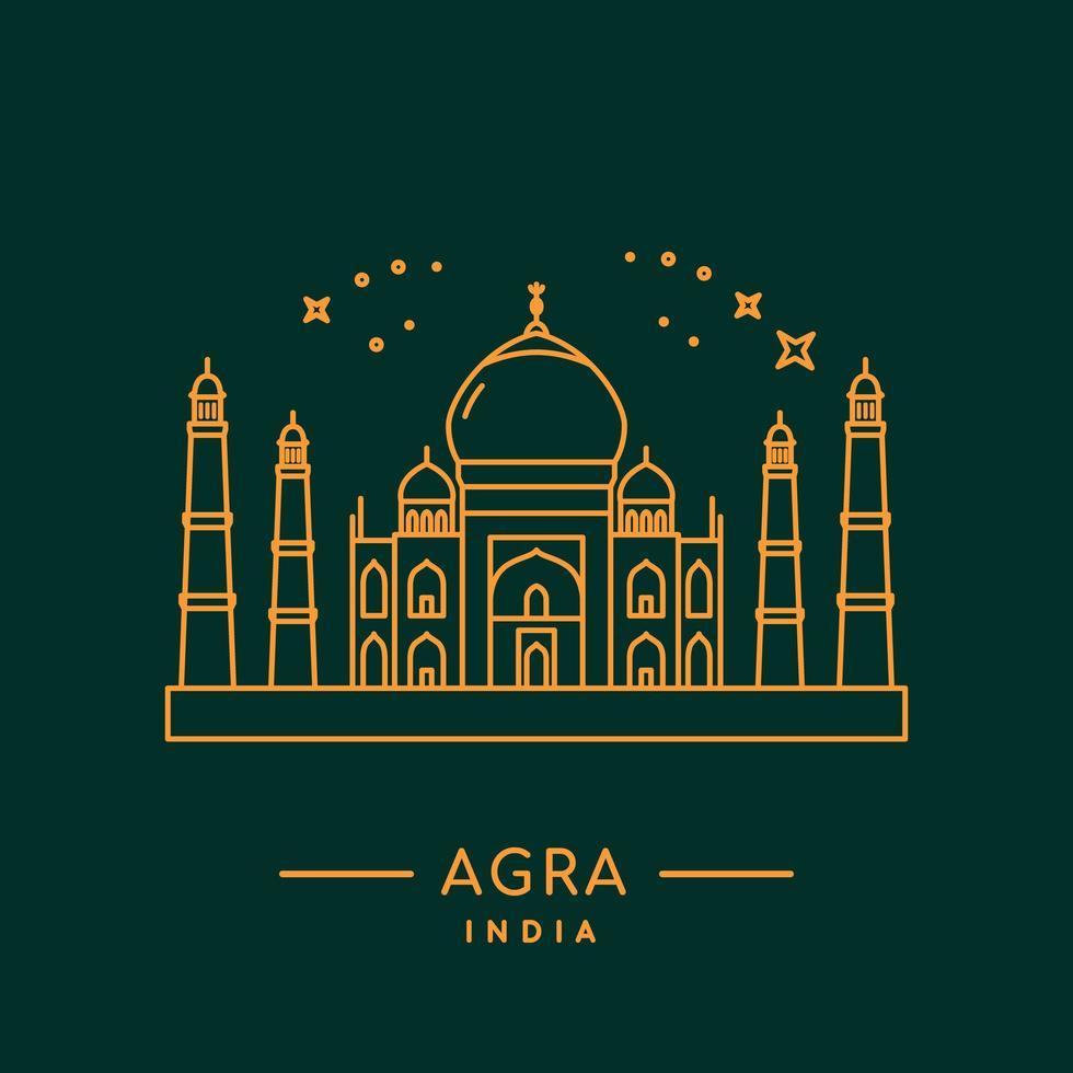 Taj Mahal linea design vettore