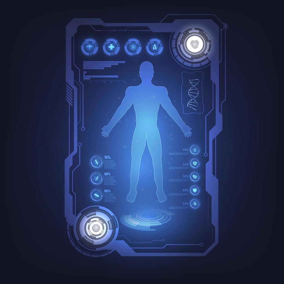 diagramma del corpo umano su sfondo di scienza high tech vettore