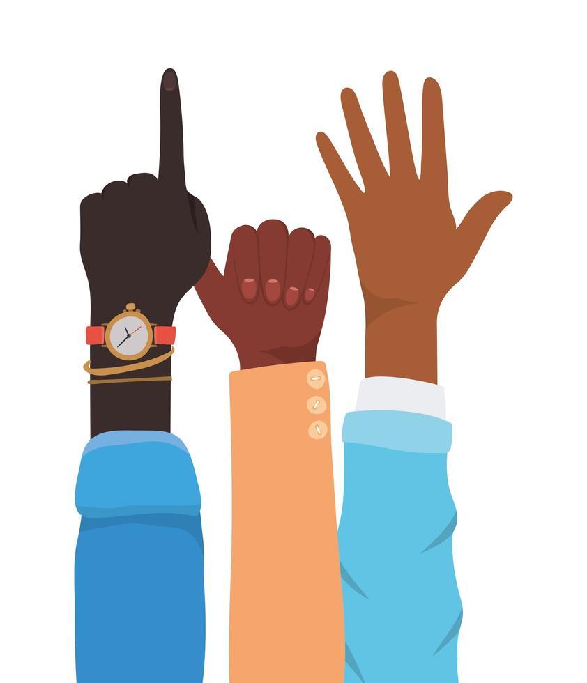 segno numero uno e mani aperte vettore