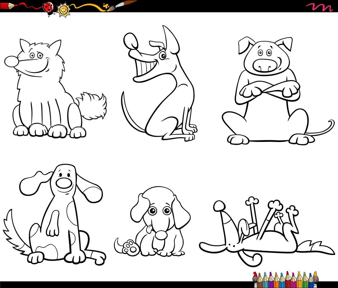 i personaggi dei cani dei cartoni animati hanno impostato la pagina del libro a colori vettore