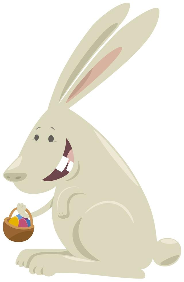 coniglietto di Pasqua del fumetto con cesto di uova colorate vettore