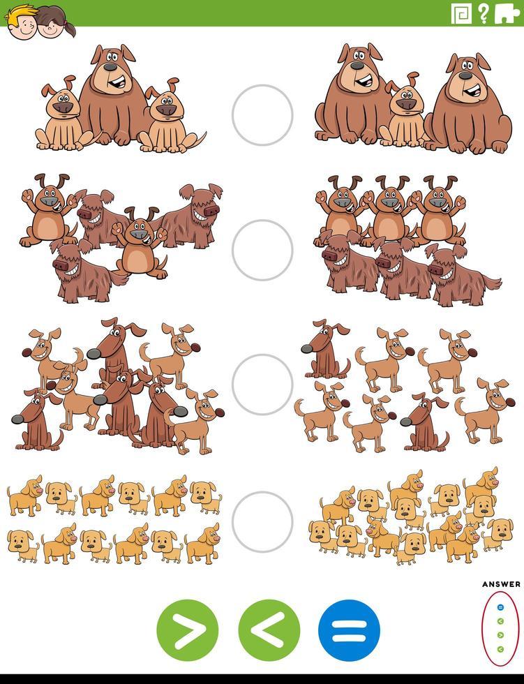 compito educativo maggiore o uguale con i cani vettore