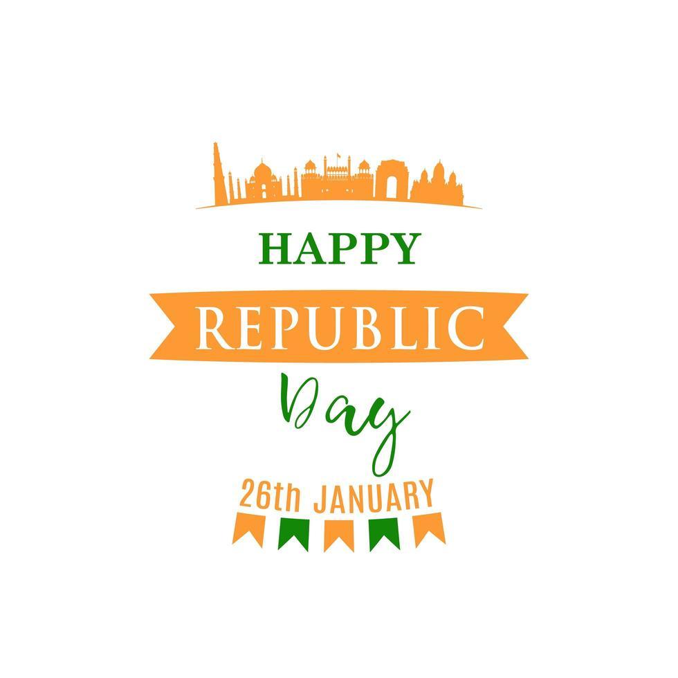 design festivo per la festa della repubblica indiana. vettore