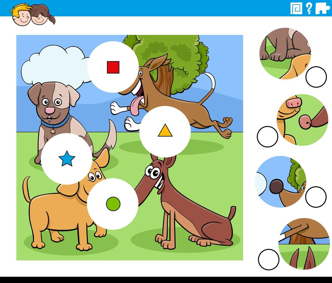 abbina i pezzi del puzzle con i personaggi dei cani dei cartoni animati vettore