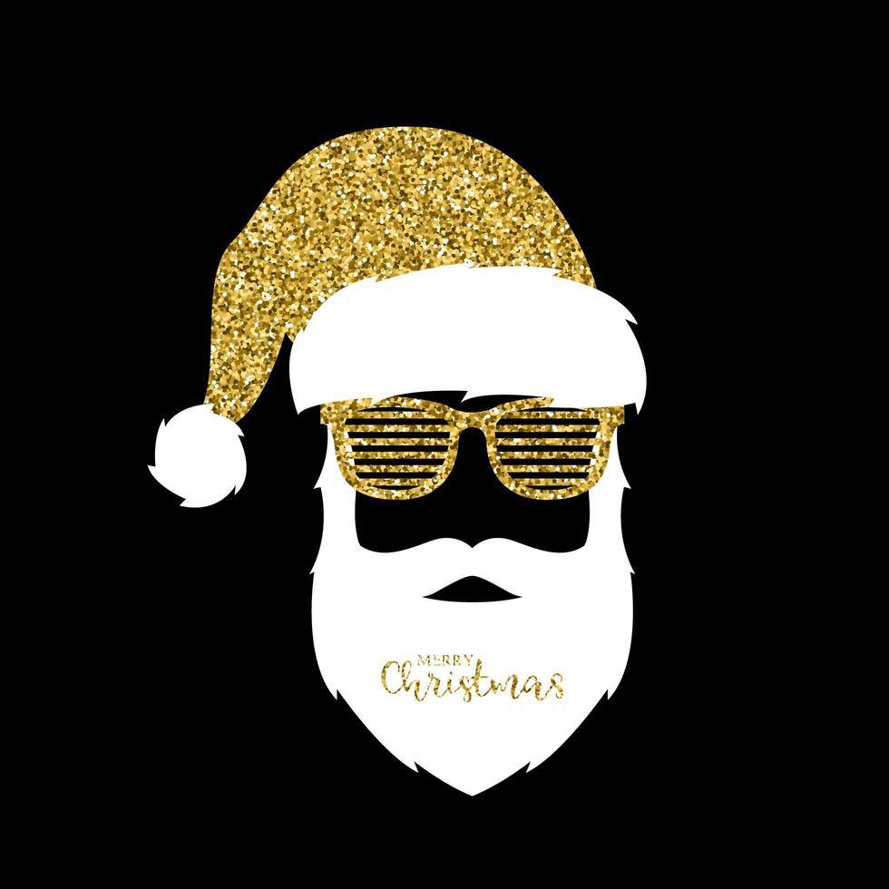 Babbo Natale con cappello glitter e sfumature dell'otturatore vettore