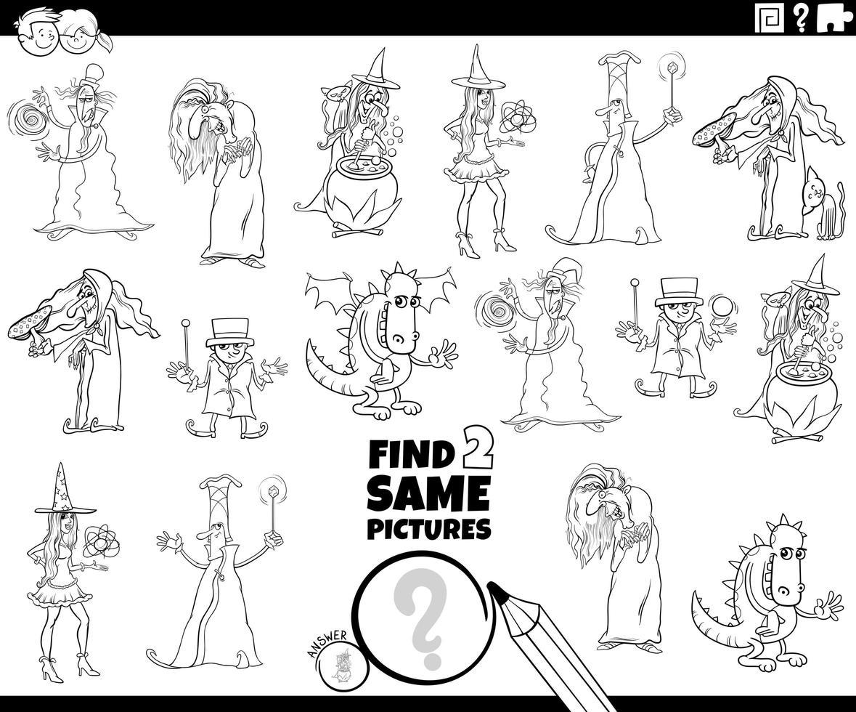 trovare due stessi personaggi fantasy colorare la pagina del libro vettore