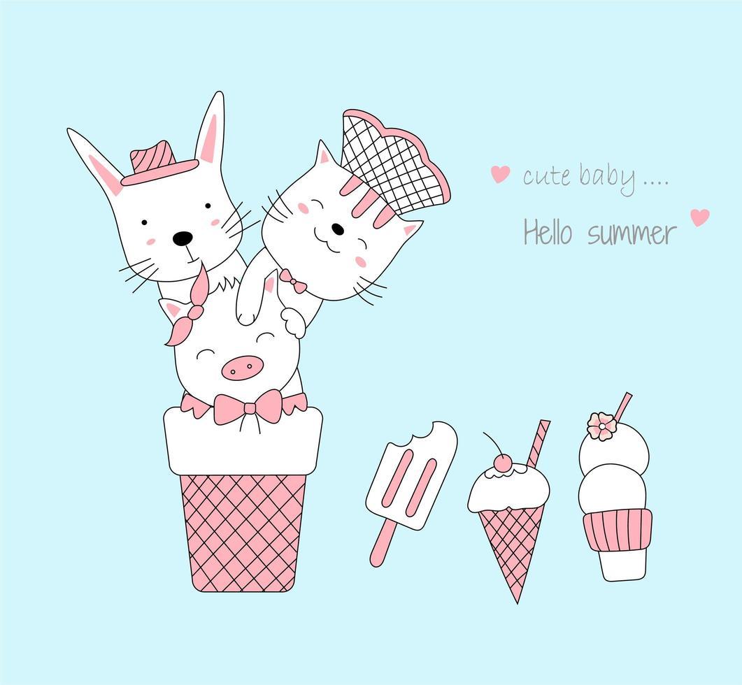 simpatici animaletti disegnati a mano con gelato vettore