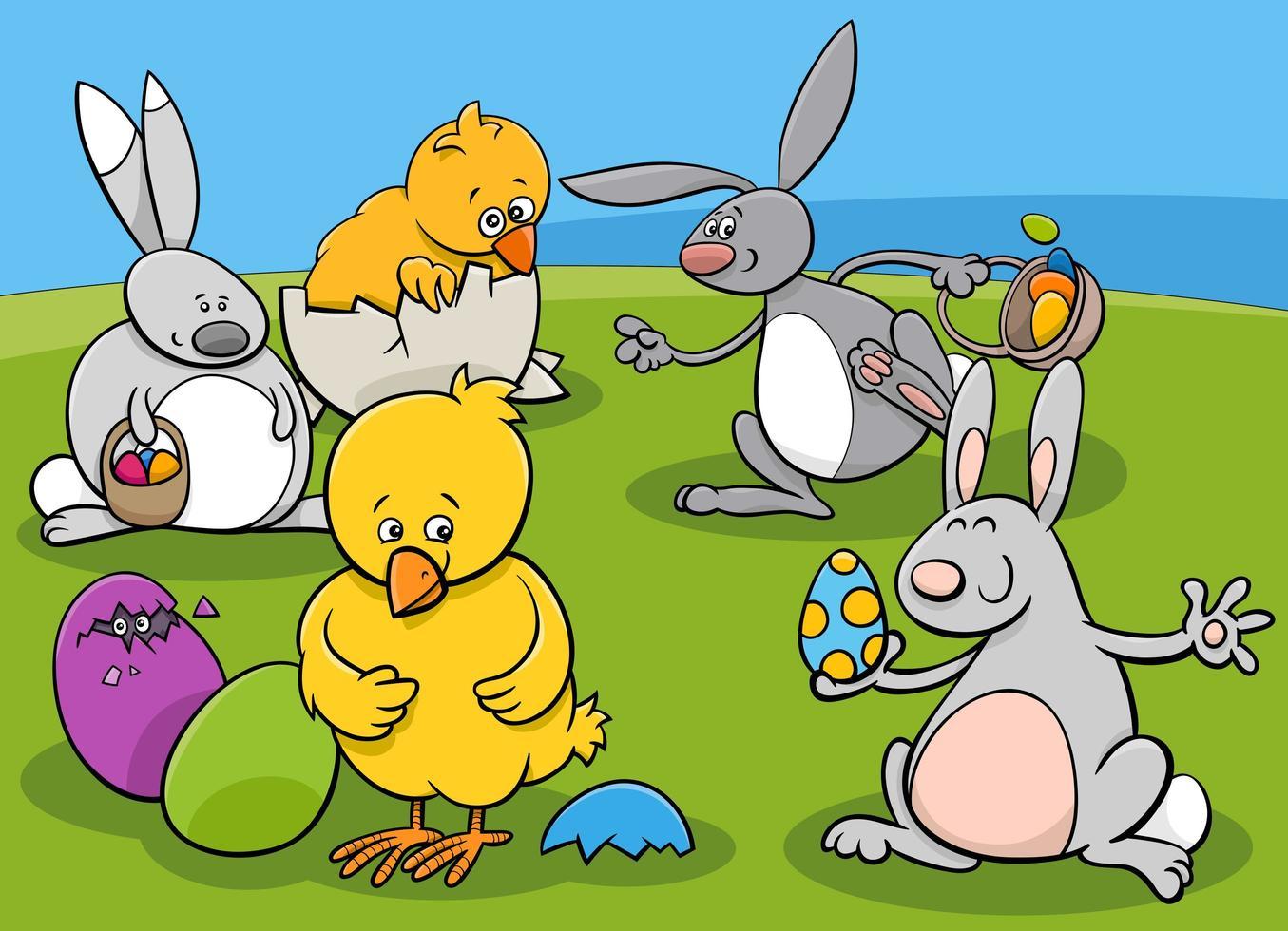 gruppo di caratteri di Pasqua vettore