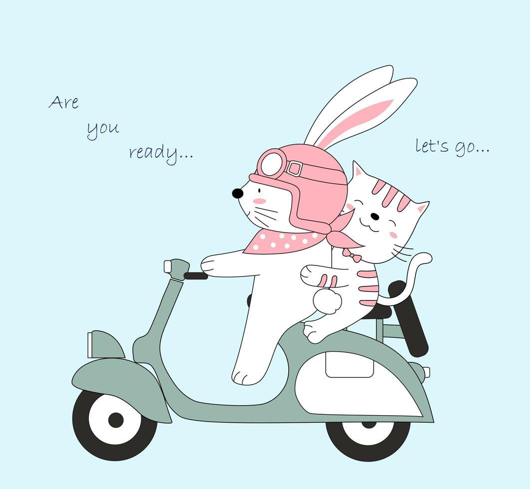 simpatico coniglio e gatto in scooter viaggiano in vacanza vettore