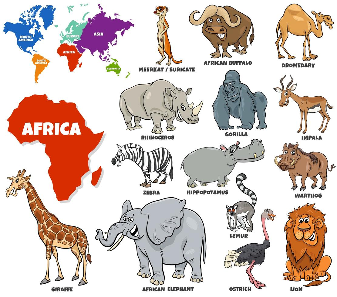 set educativo di animali africani set vettore