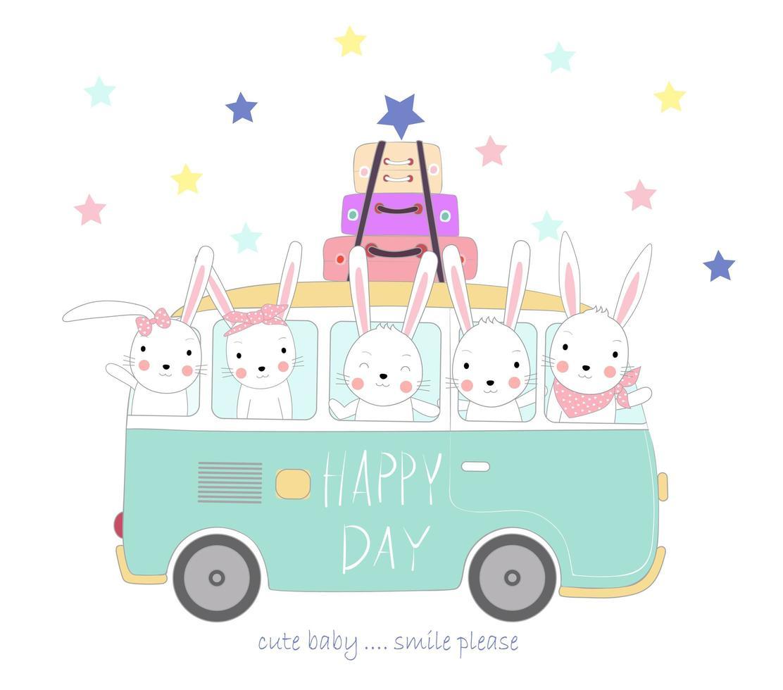 simpatici conigli viaggiano in vacanza vettore