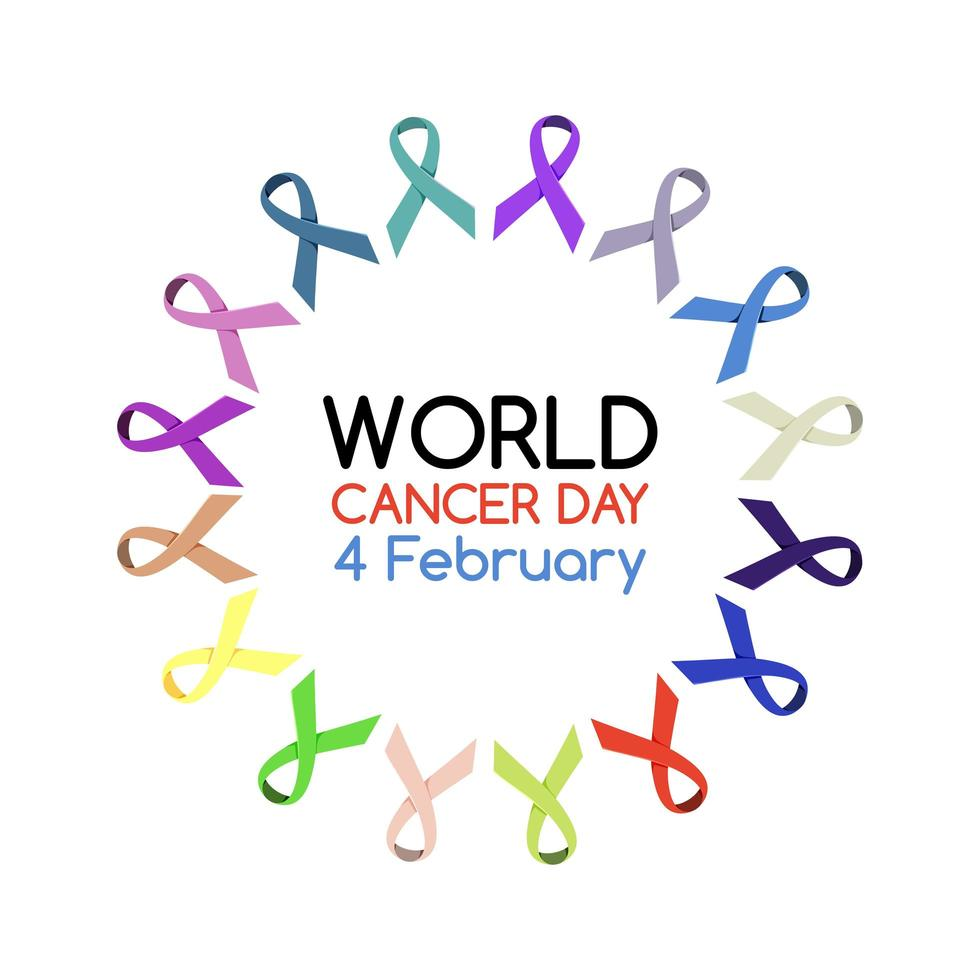 logo o banner della giornata mondiale del cancro con molti nastri vettore