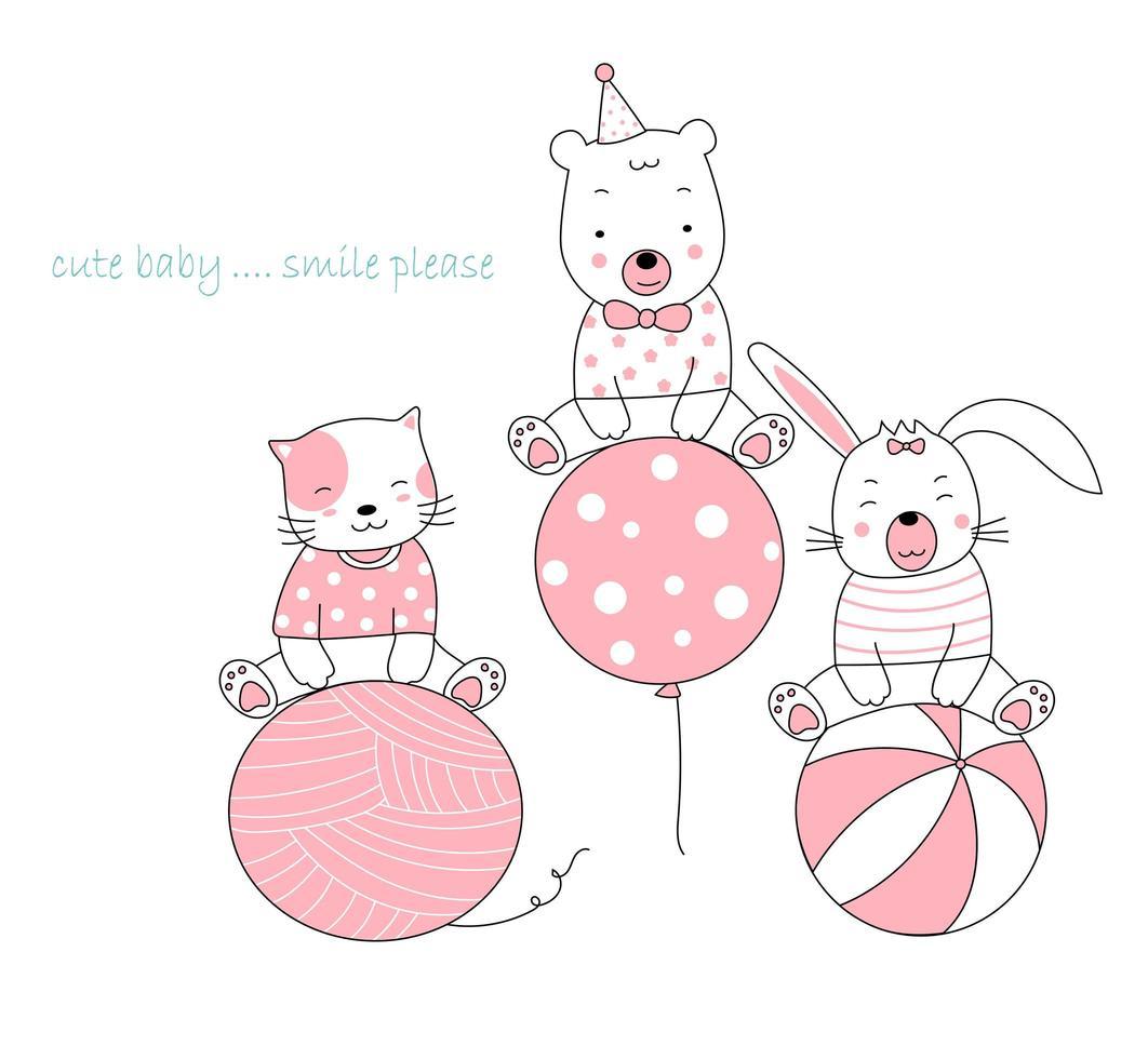simpatici animali disegnati a mano con sbadiglio, palloncino e palla vettore