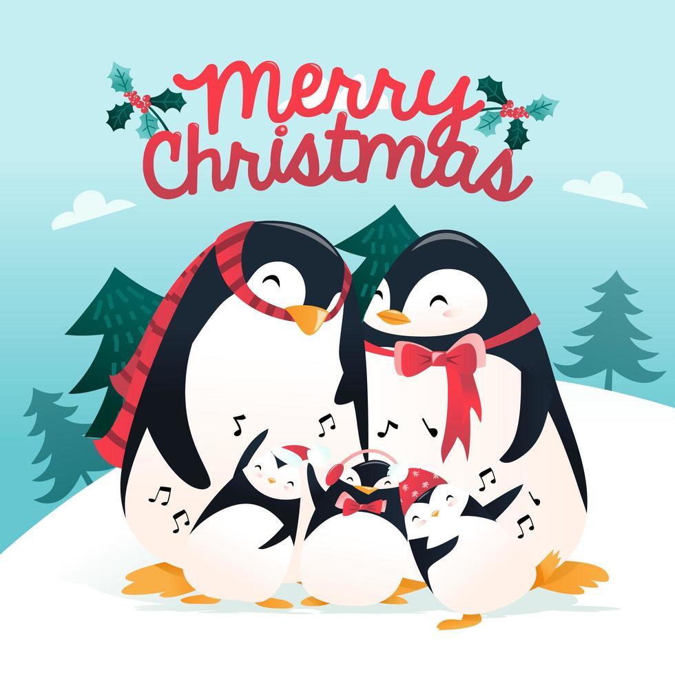 scena invernale della famiglia dei pinguini delle vacanze dei cartoni animati super carino vettore